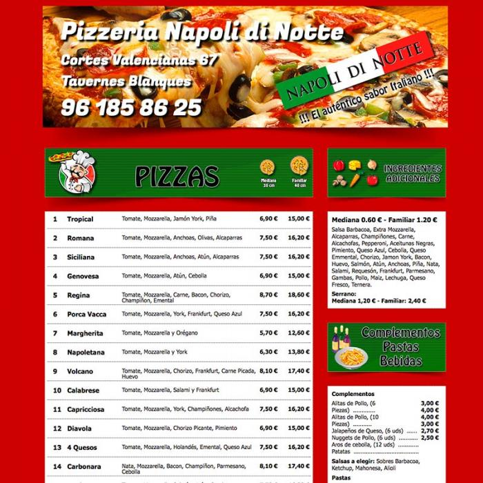 Página web corporativa Pizzería di notte